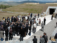 Participants gathering at the entrance of the museum